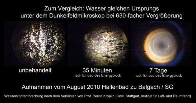 Dunkelfeldmikroskop Aufnahmen Hallenbad Balgach energetische Wasserbehandlung